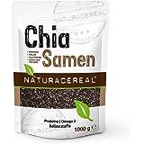 NATURACEREAL Semillas de Chia Calidad Premium 1.000g - | Chia significa FUERZA en el idioma Maya | Alto contenido de Fibras | Proteinas | Ácidos grasos Omega-3 | Antioxidantes | Vegano | Sin Gluten |