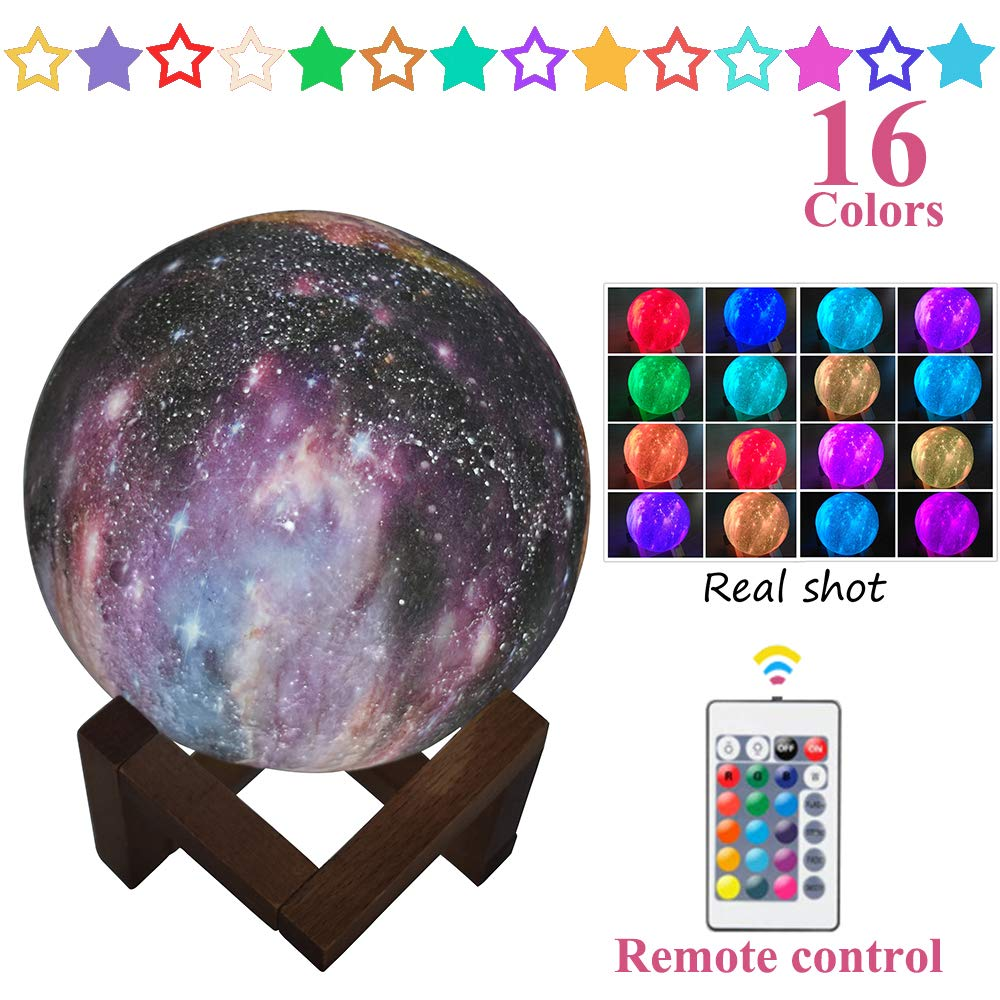 Moon Lamp, BigButer 16 Colors LED 3D Stars Moon Night Light with Wood Bracket & Remote Control & Touch Switch & USB Rechargeable, Room Décor for Birthday Party Kids Baby Gifts(3.2inch), Out of The BO