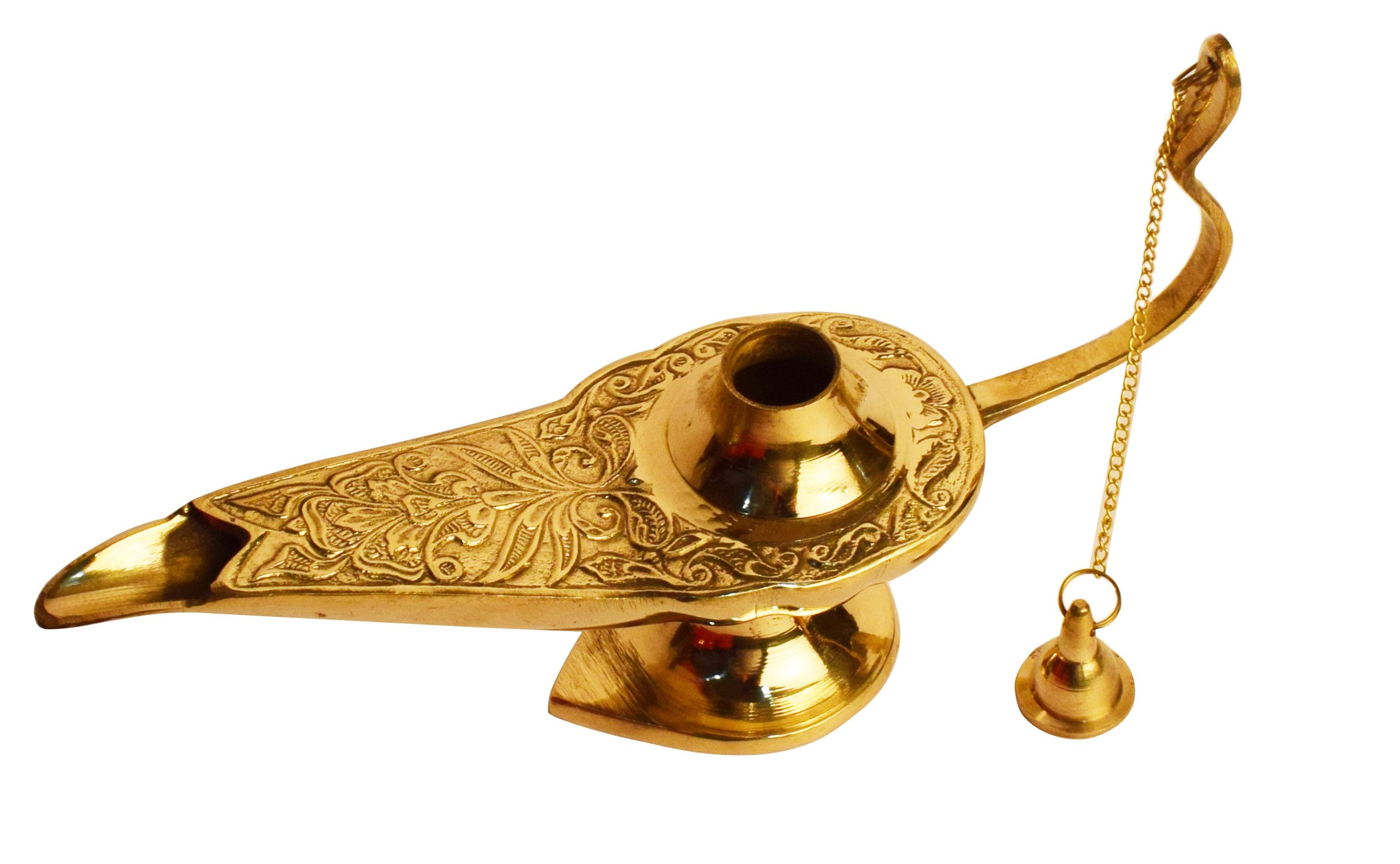 100% Pure Brass 7 INCH Aladdin Oil Lamp Genie / Ornate Chirag - Golden-Tone Brass - Vintage Toys & Gifts For Kids / Costume Party Home Decoration by Dflounz (Image #3)