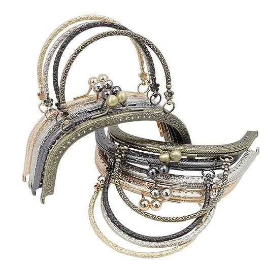 GuoFa Monedero de metal, cierre de broche de beso, marco retro de 16,5 cm, cierre de moneda, manualidades para hacer bolsos de mujer