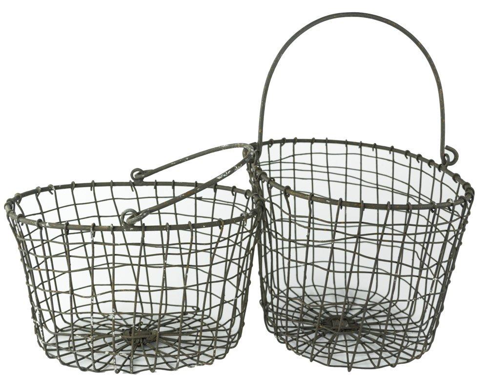 Rustic Metal Wire Handled Harvesting Baskets Set of 2 - ChristmasTablescapeDecor.com