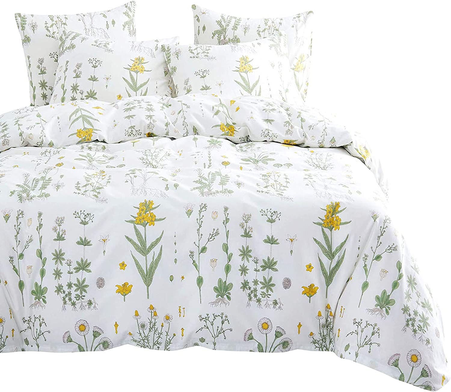 Wake In Cloud - Botanical Comforter Set, 4 Pillow Cases, Yellow Flowers Green Leaves Floral Garden Pattern Printed on White