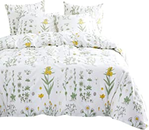 Wake In Cloud - Botanical Comforter Set, 4 Pillow Cases, Yellow Flowers Green Leaves Floral Garden Pattern Printed on White, 100% Cotton Fabric with Soft Microfiber Fill Bedding (King Size)