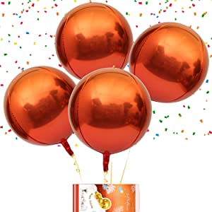 Eanjia Orange Red Metallic Ombre 4D Gradient Color Foil Round Balloons 16