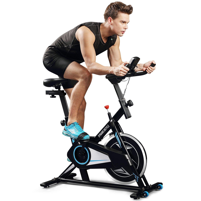 ANCHEER Indoor Cycling Bike, Belt Smooth Quiet Drive Indoor Exercise Bike with Adjustable Seat Handlebars Base for Indoor Garden Workout Cardio