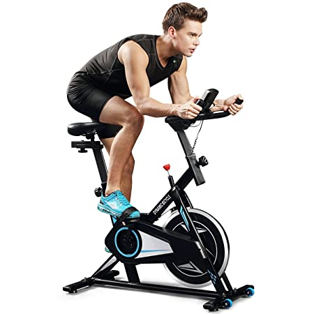 ANCHEER Indoor Cycling Bike, Belt Smooth Quiet Drive Indoor Exercise Bike with Adjustable Seat Handlebars Base for Indoor Garden Workout Cardio