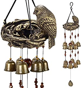 YLYYCC Brass Tube Wind Chimes Copper Bell Decoration Wind Chime Gift (12# Birds and nest Wind Chime)
