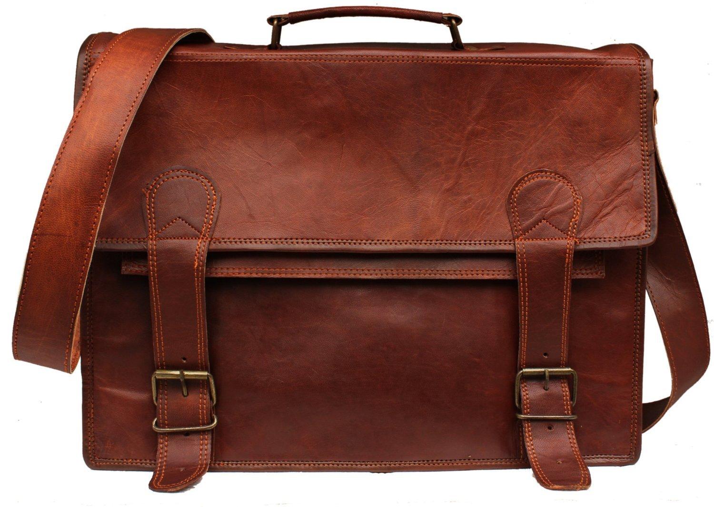 Handolederco ''Bunny'' Leather Messenger Satchel Laptop Leather Briefcase Bag Leather Messenger Bag