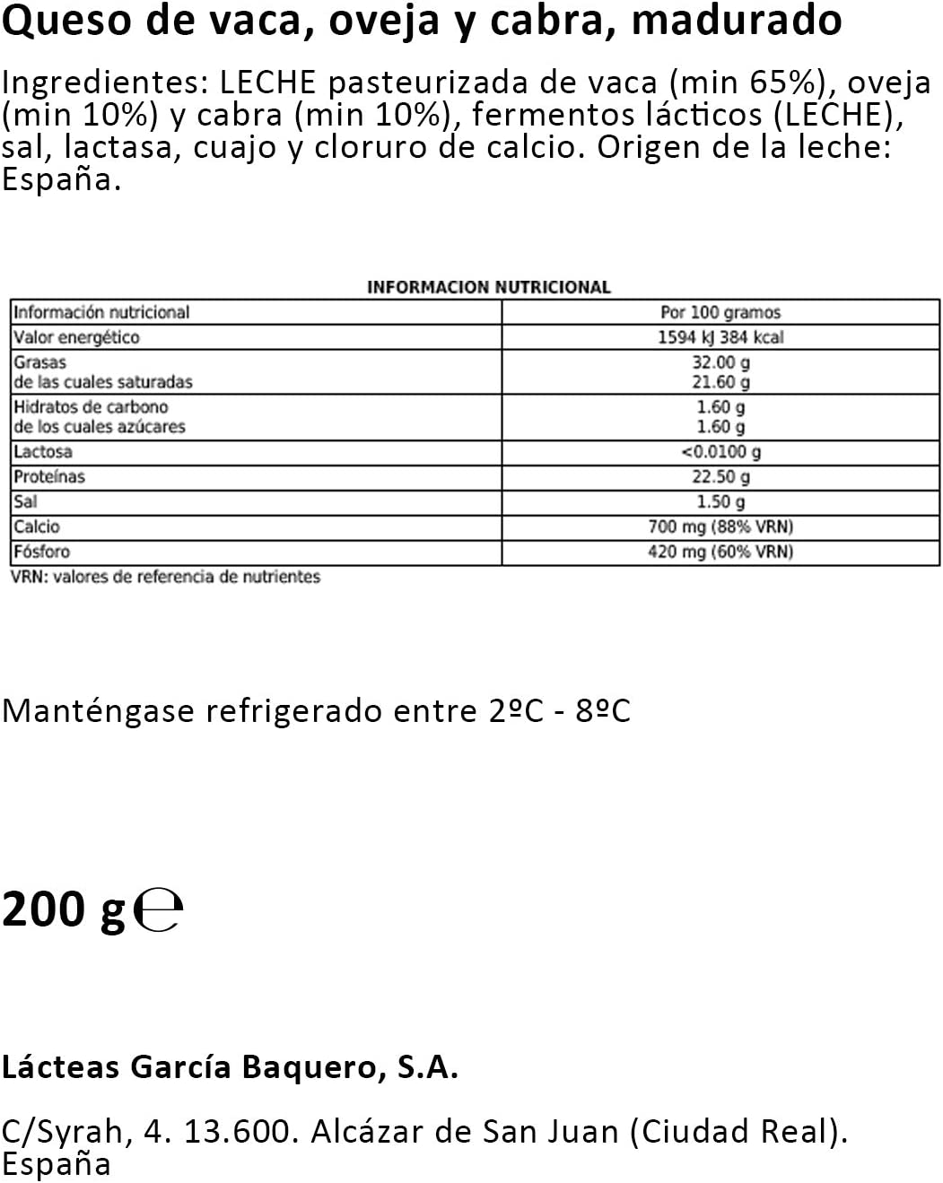 García Baquero Queso sin Lactosa Ya Cortado, 200g: Amazon.es ...