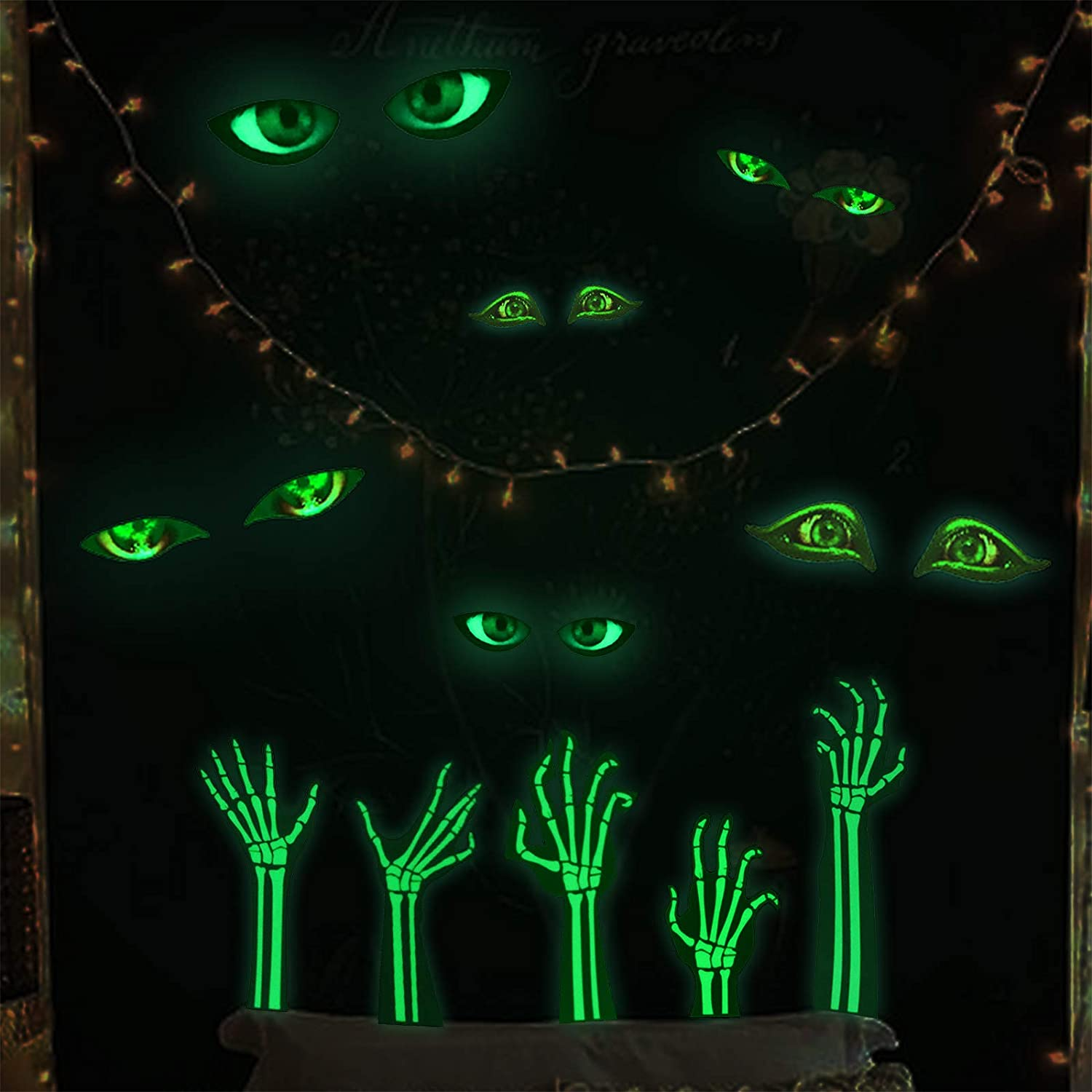 Marsway Glow in The Dark Stickers Luminous Evil Eye Wall Decor Halloween Party Supplies Room Decal Gifts for Kids (6 Evil Eyes 5 Pcs Ghost Hands)
