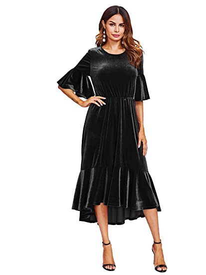 b5a40fe05d737c Floerns Women s Trumpet Sleeve Flounce Ruffle Hem Velvet Midi Dress at  Amazon Women s Clothing store