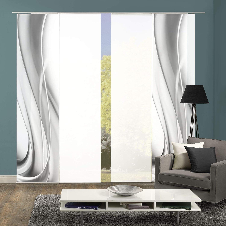 Wohnfuehlidee 4er-Set Flächenvorhang, Deko Blickdicht, Franka, Höhe 245 cm, 2X Dessin grau   2X Uni weiß Halbtransparent