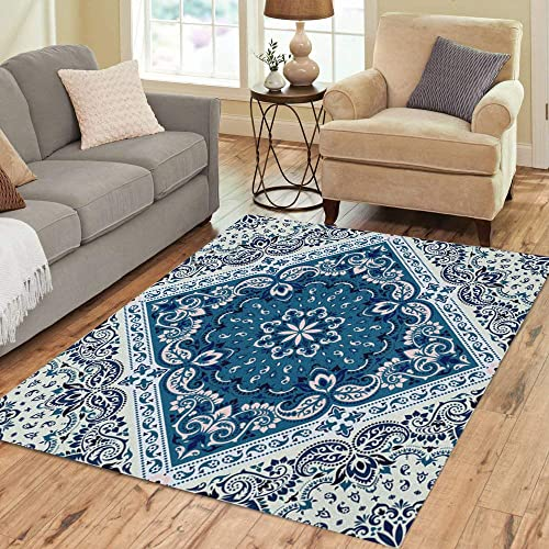 Pinbeam Area Rug Bandanna Paisley Silk Neck Scarf Pattern Home Decor Floor Rug 3' x 5' Carpet