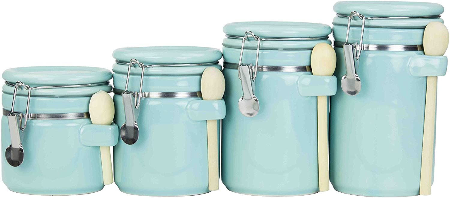 Home Basics 4pc Ceramic Canister Set W Spoon Turquoise Kitchen Dining
