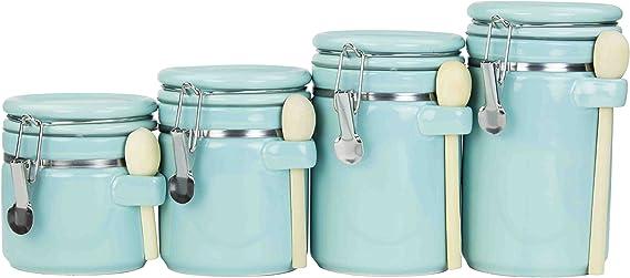 One Size, Turquoise Tin Canister Home Basics CS47383 Large
