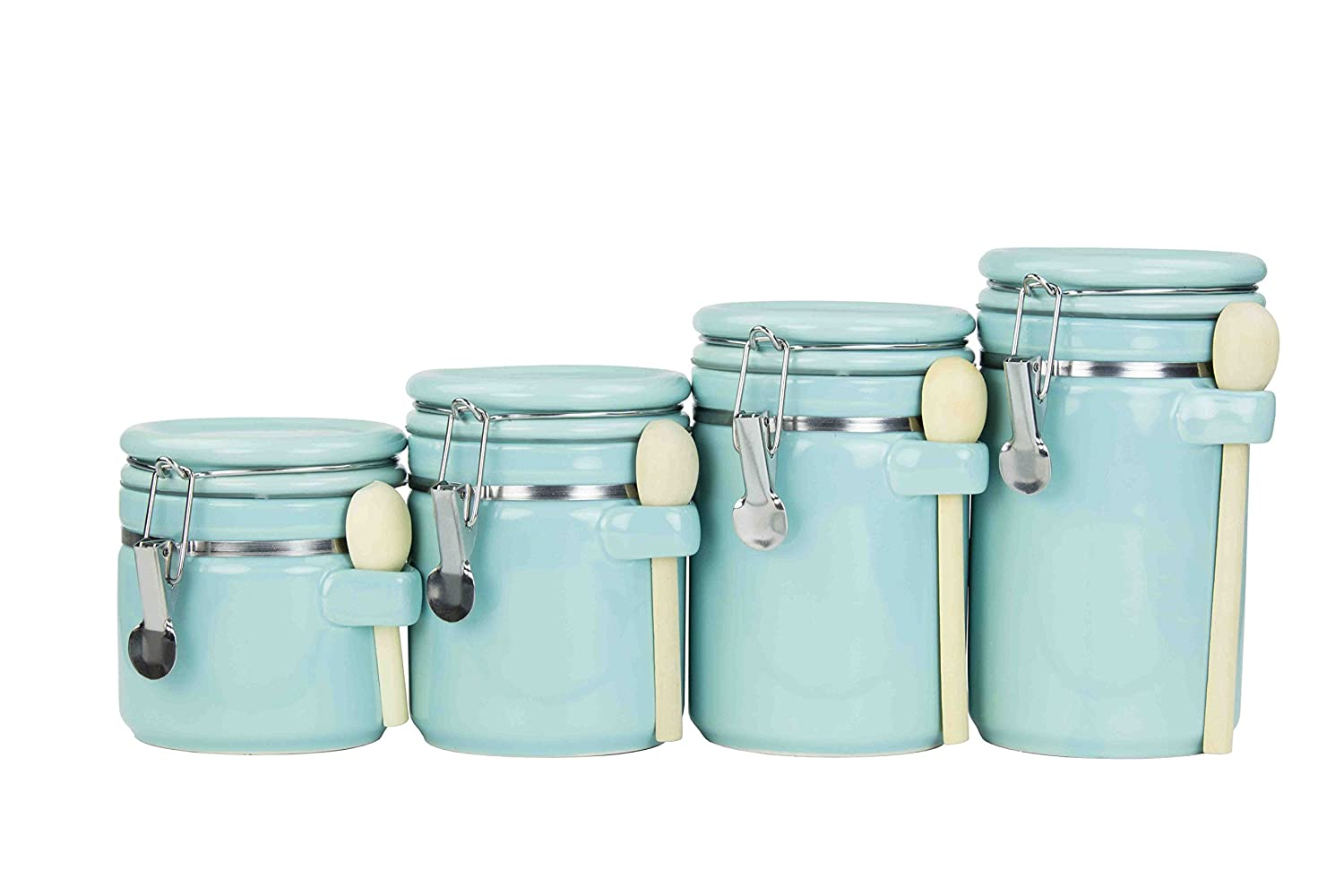 Amazon.com: Home Basics 4PC Ceramic Canister Set W/Spoon (Turquoise ...