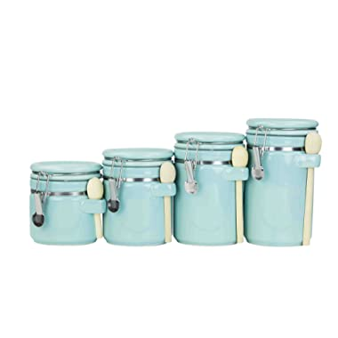 Home Basics 4PC Ceramic Canister Set W/Spoon (Turquoise)