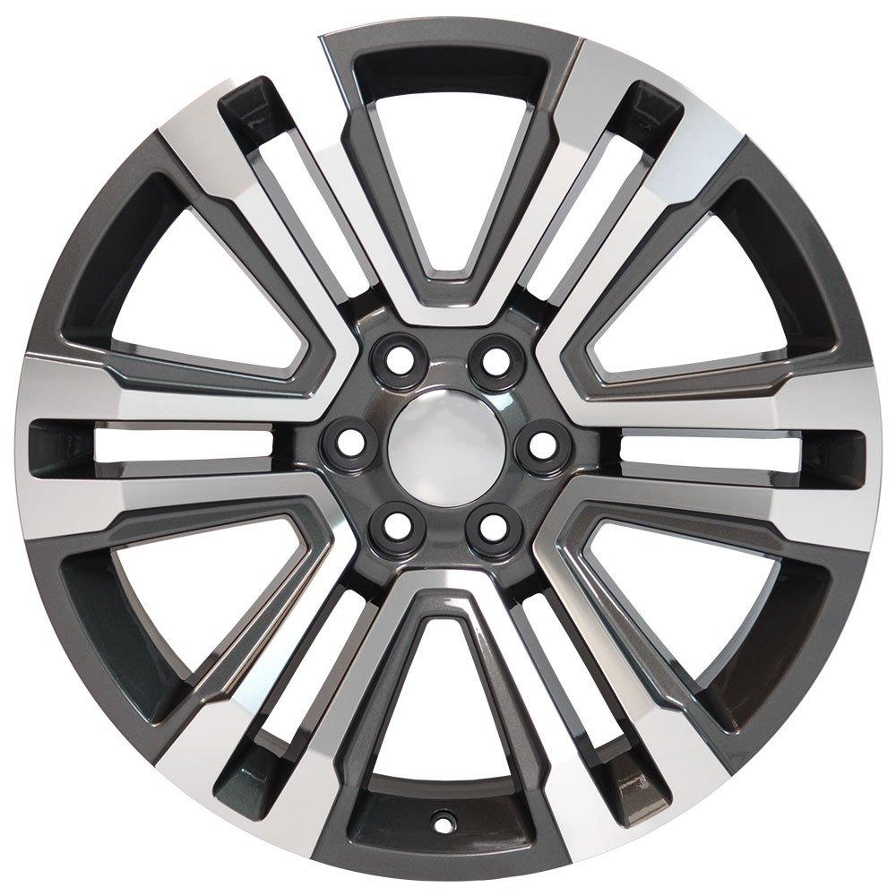 OE Wheels 22 Inch Fits Chevy Silverado Tahoe GMC Sierra Yukon Cadillac Escalade CV44 Hyper Black Machd 22x9 Rim Hollander 5822