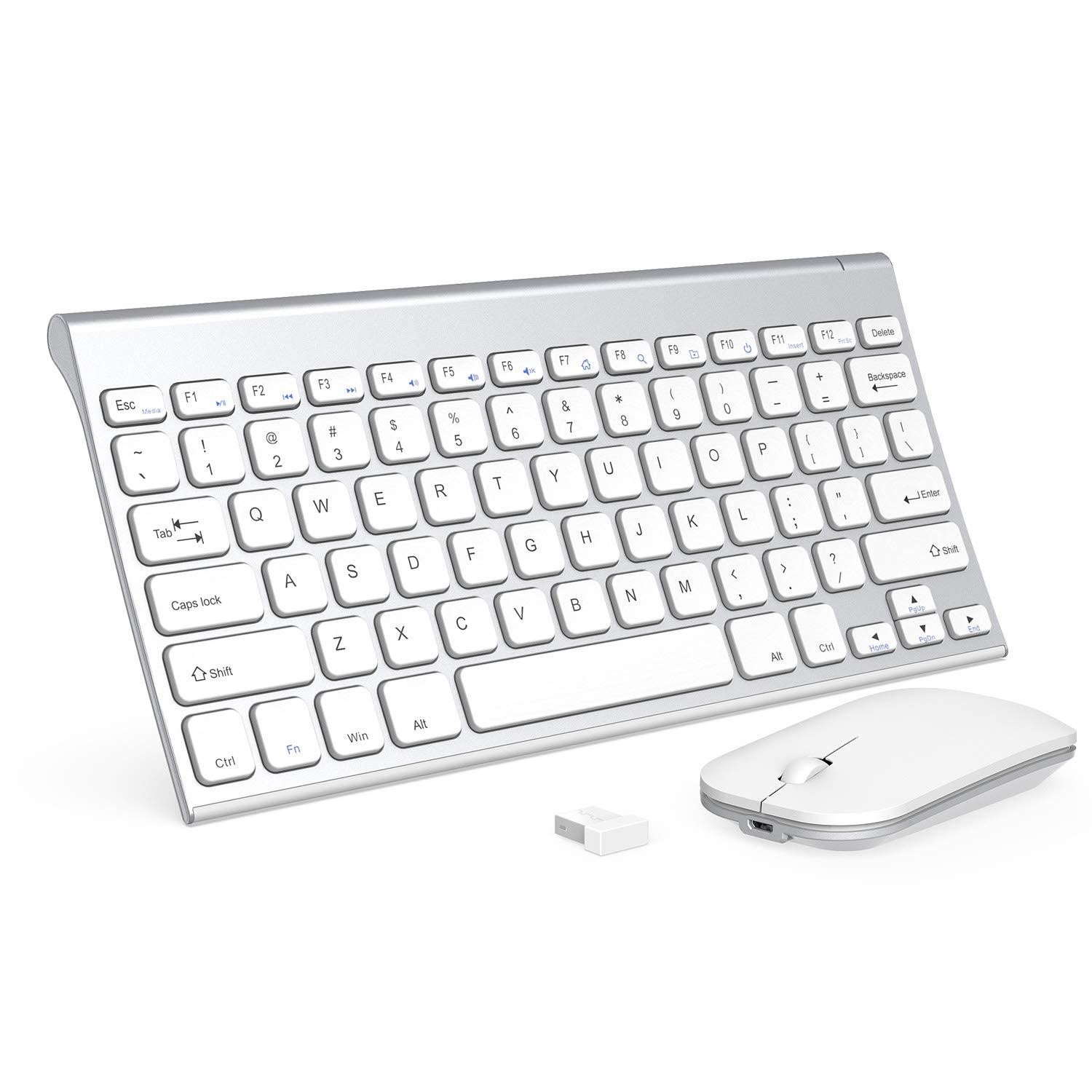 Wireless Keyboard and Mouse Combo,Seenda 2.4G Ultra Compact Rechargeable Wireless Keyboard and Mouse for Computer,PC,Desktop,Windows XP/Vista/7/8/10,White and Silver