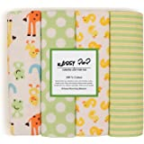 Square New Born Baby Boy's and Girl's Multipurpose Cotton Reusable Flannel Receiving Baby Blankets (Multicolour, 0-1.5 Years) - Set of 4
