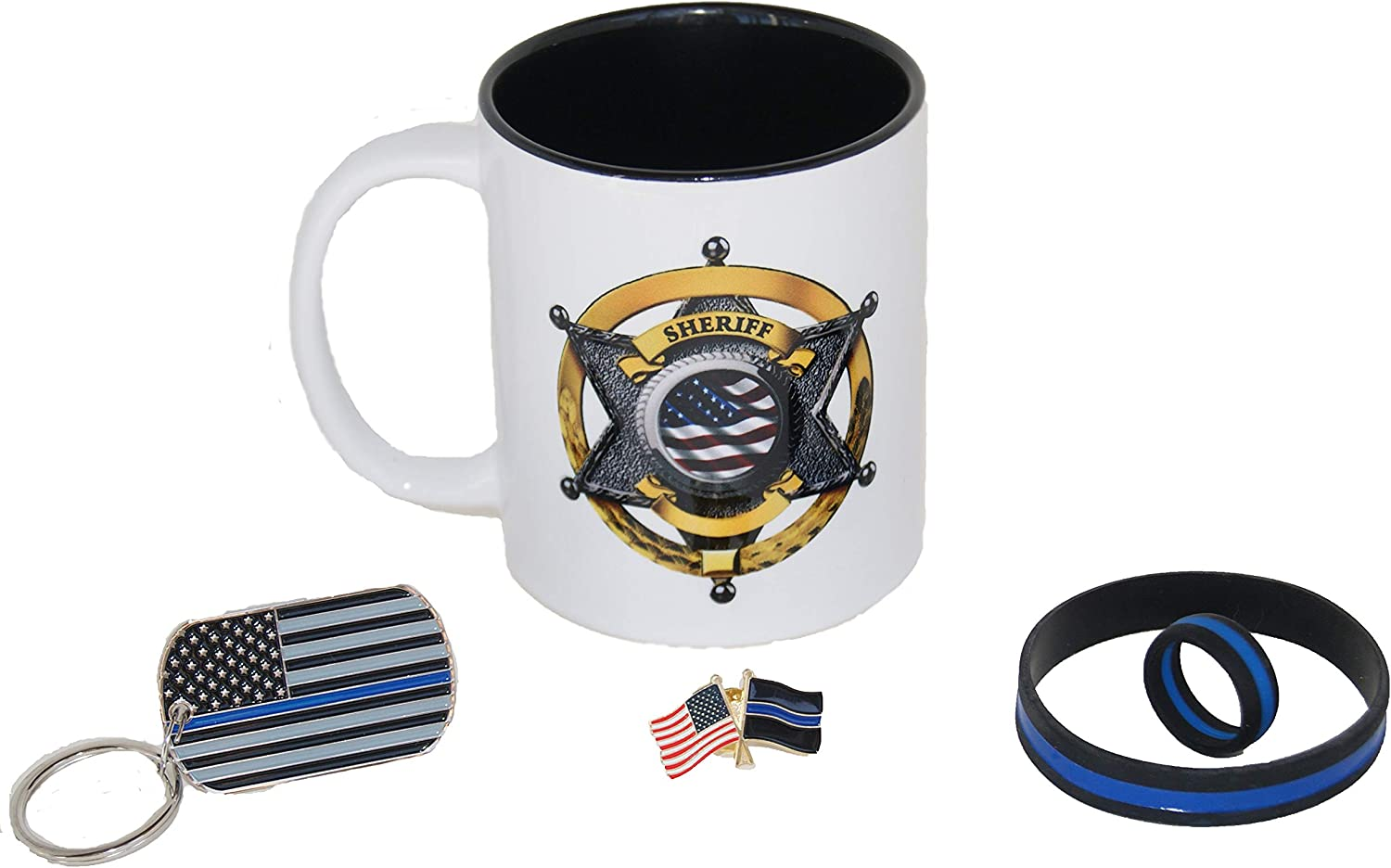 Sheriff Badge Coffee Cup | Sheriff's Office Gift | Police Gift | Thin Blue Line Key Chain | Police Court Lapel Pin | Police Wristbands | Police Gift | Deputy Sheriff Coffee Mug
