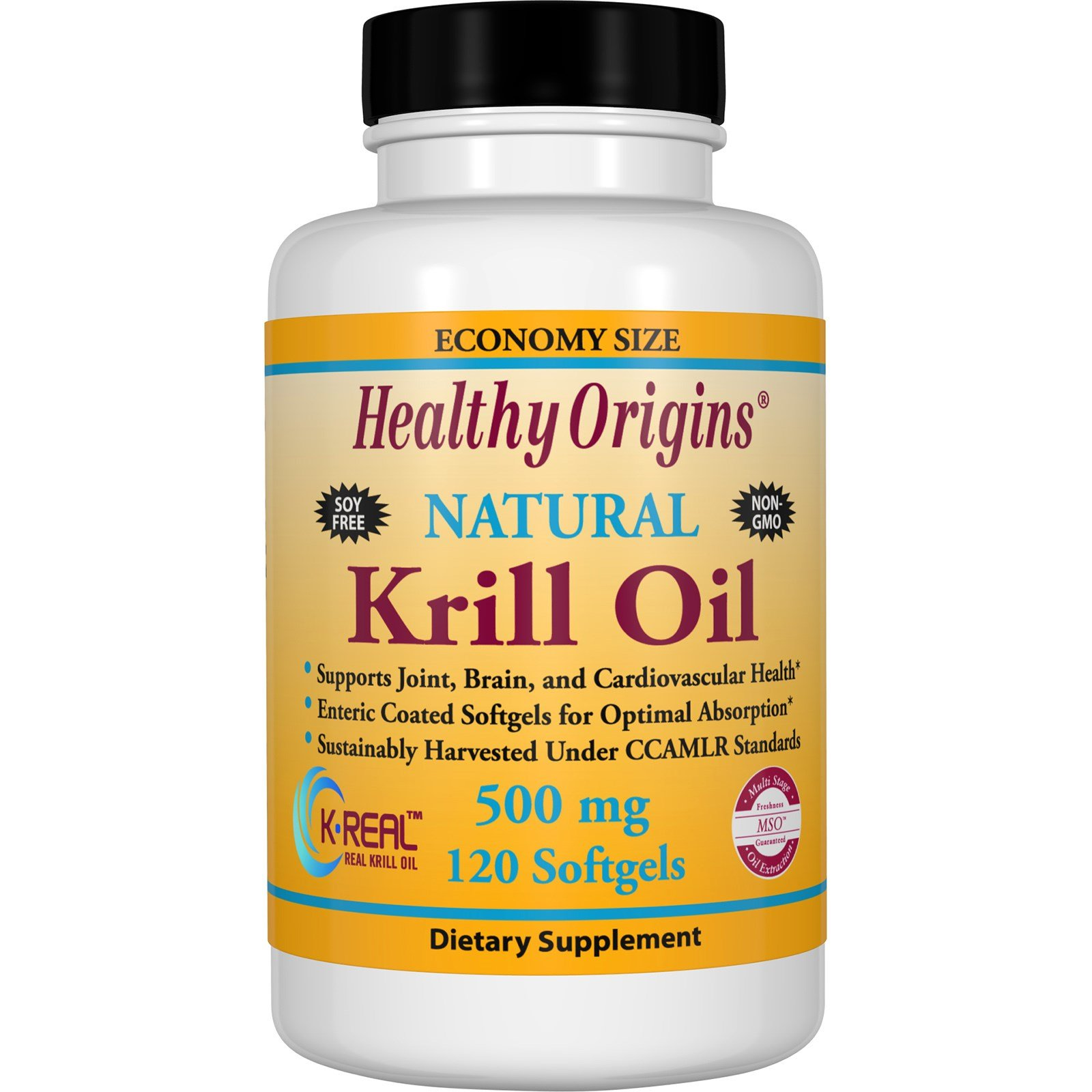 Healthy Origins, Krill Oil, Natural Vanilla Flavor, 500 mg, 120 Softgels - 3PC