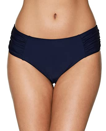 1e3c8d999d1c8 beautyin Women s Shirred Mid Waist Bathing Bottom Tankini Briefs Swim  Bottoms Navy Small