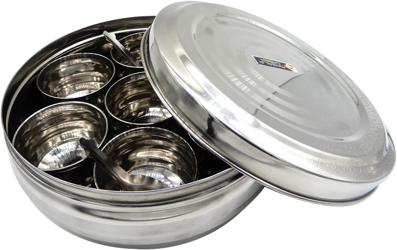 WhopperIndia Caja de especias redonda de acero inoxidable Cocina Masala Dabba - Contenedor de especias - Masala Dabba - 7 compartimentos con 2 cucharadas, hermético