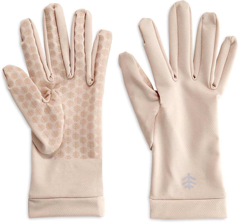 Coolibar UPF 50+ Unisex Sun Gloves - Sun Protective (Medium- Beige)