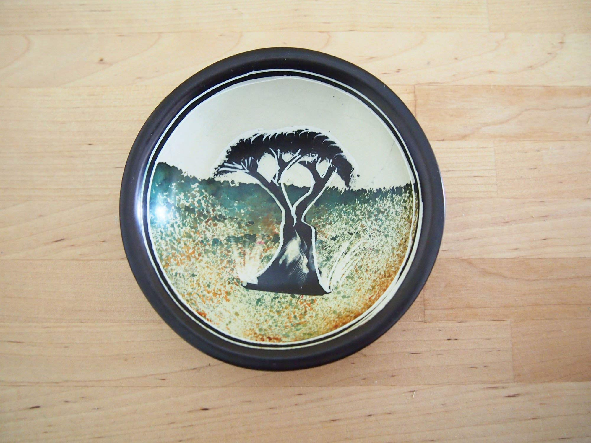 Handcrafted African 4'' Baobab Tree Soapstone Dish, Made in Kenya by Amsha