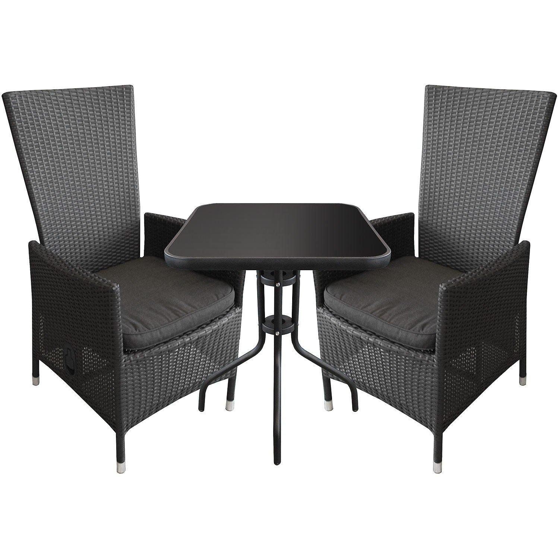 3tlg bistrogarnitur bistro set bistrotisch glastisch 60x60cm alu poly rattan sessel. Black Bedroom Furniture Sets. Home Design Ideas