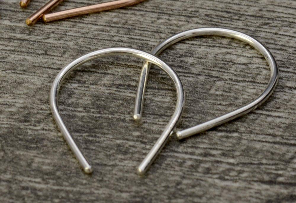 Open Hoop Earrings in Genuine Sterling Silver U Shaped Thread Earrings Minimalist Jewelry Teardrop Wire Earrings
