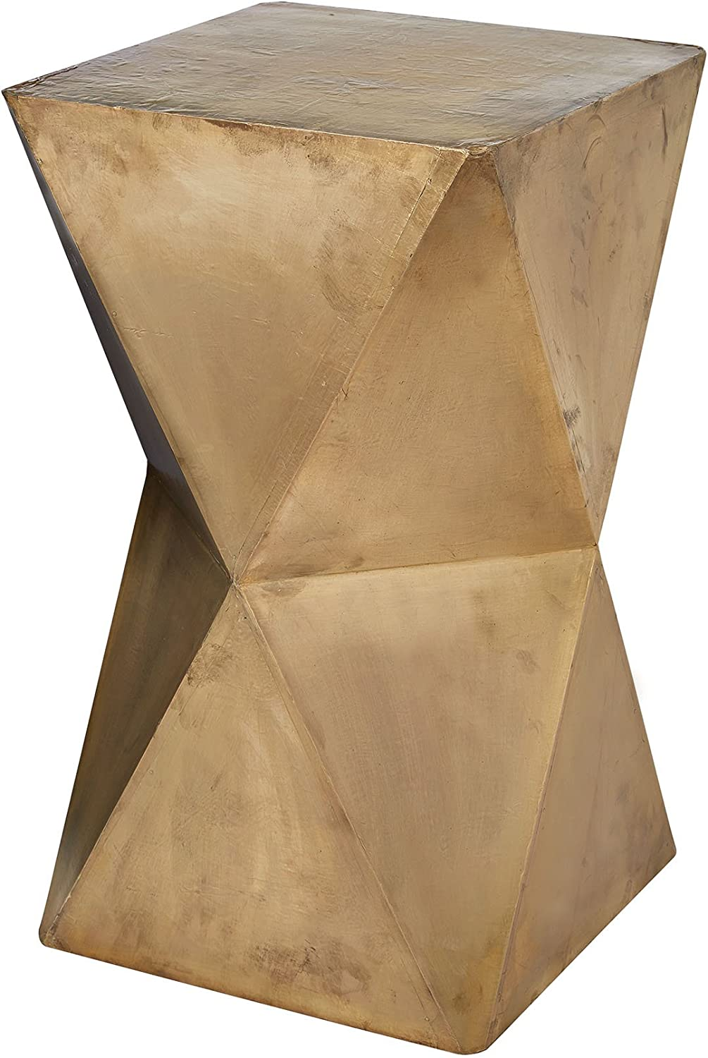 """Dimond Home Faceted Stool with Brass Cladding, 14"""" x 14"""" x 24"""", Gold"""