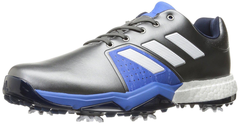 adidas Men's Adipower Boost 3 Golf Shoe, Dark Silver Metallic/White/Blast Blue, 7.5 M US