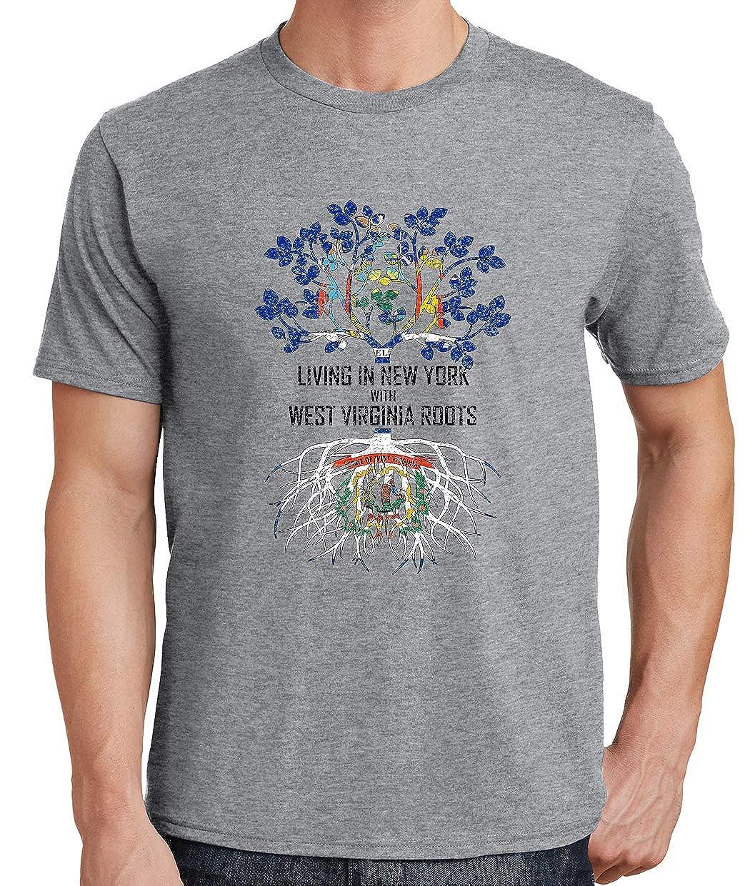 Tenacitee Mens Living in York West Virginia Roots T-Shirt