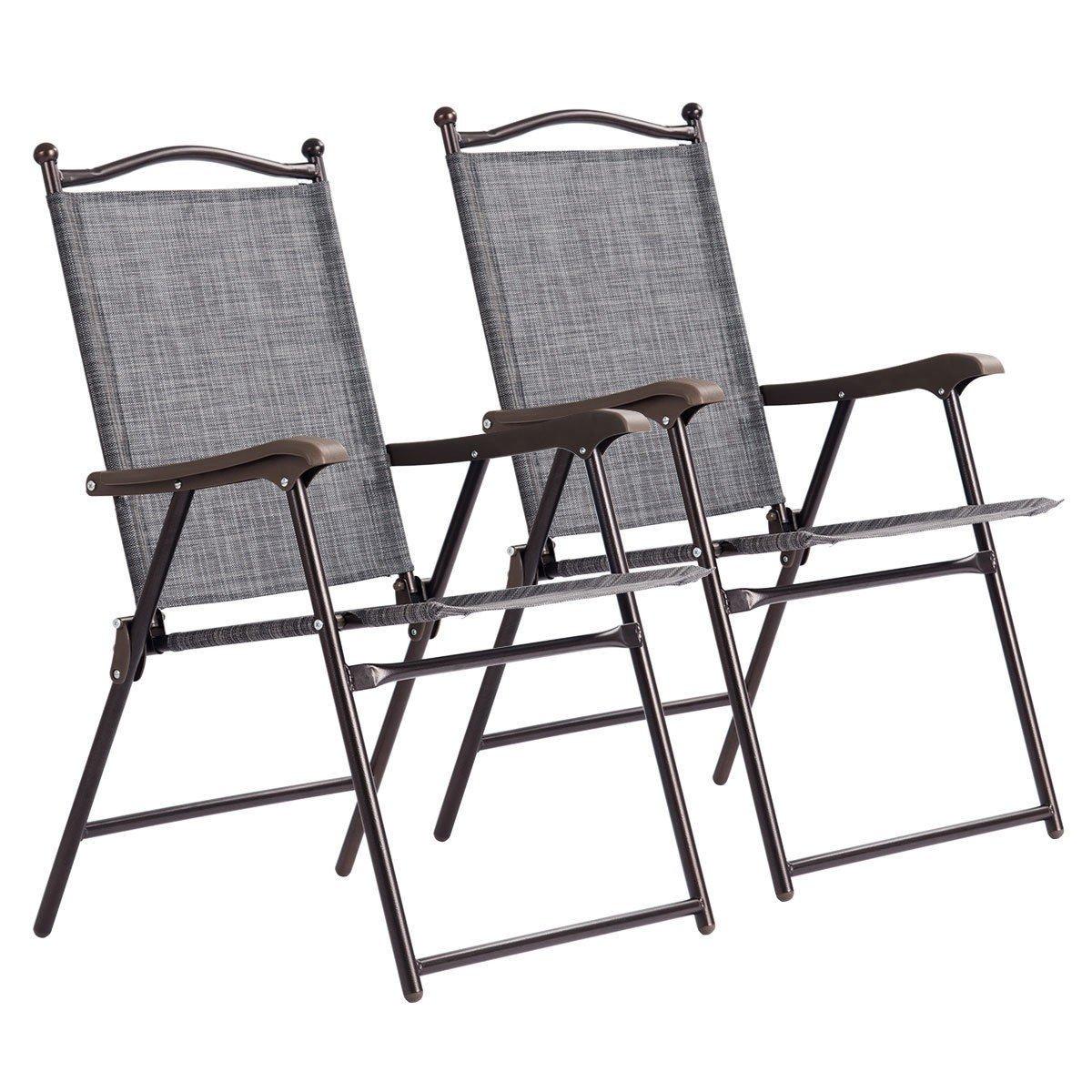 828fe4fd194 Amazon.com: Custpromo Set of 2 Patio Folding Sling Back Chairs ...