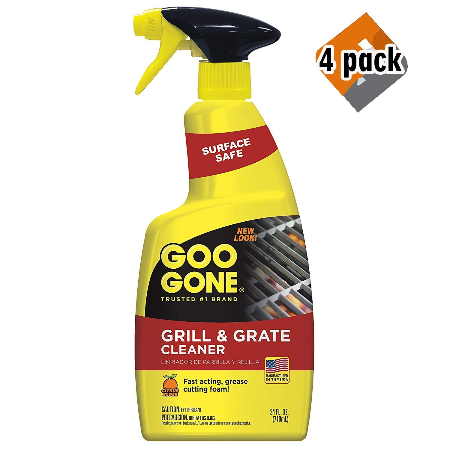 Goo Gone Grill & Grate Cleaner - Cleans Cooking Grates & Racks - 24 Fl. Oz. 4 Pack by Goo Gone
