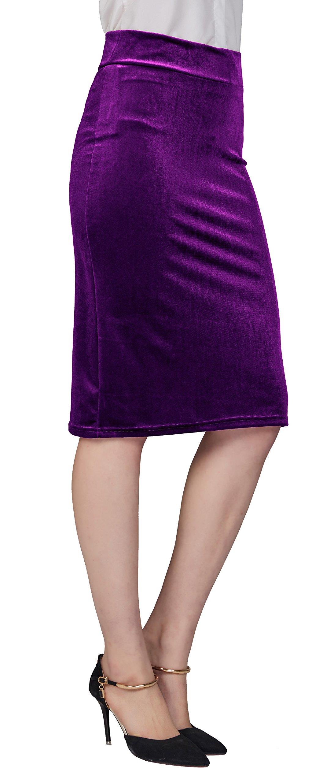 Urban CoCo Women's Elastic Waist Stretch Velvet Bodycon Pencil Skirt (L, Purple-Midi)