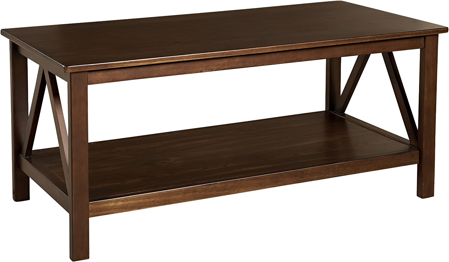 "Linon Home Dcor Linon Home Decor Titian Coffee Table, 44.02"" w x 21.97"" d x 20"" h, Antique Tobacco"