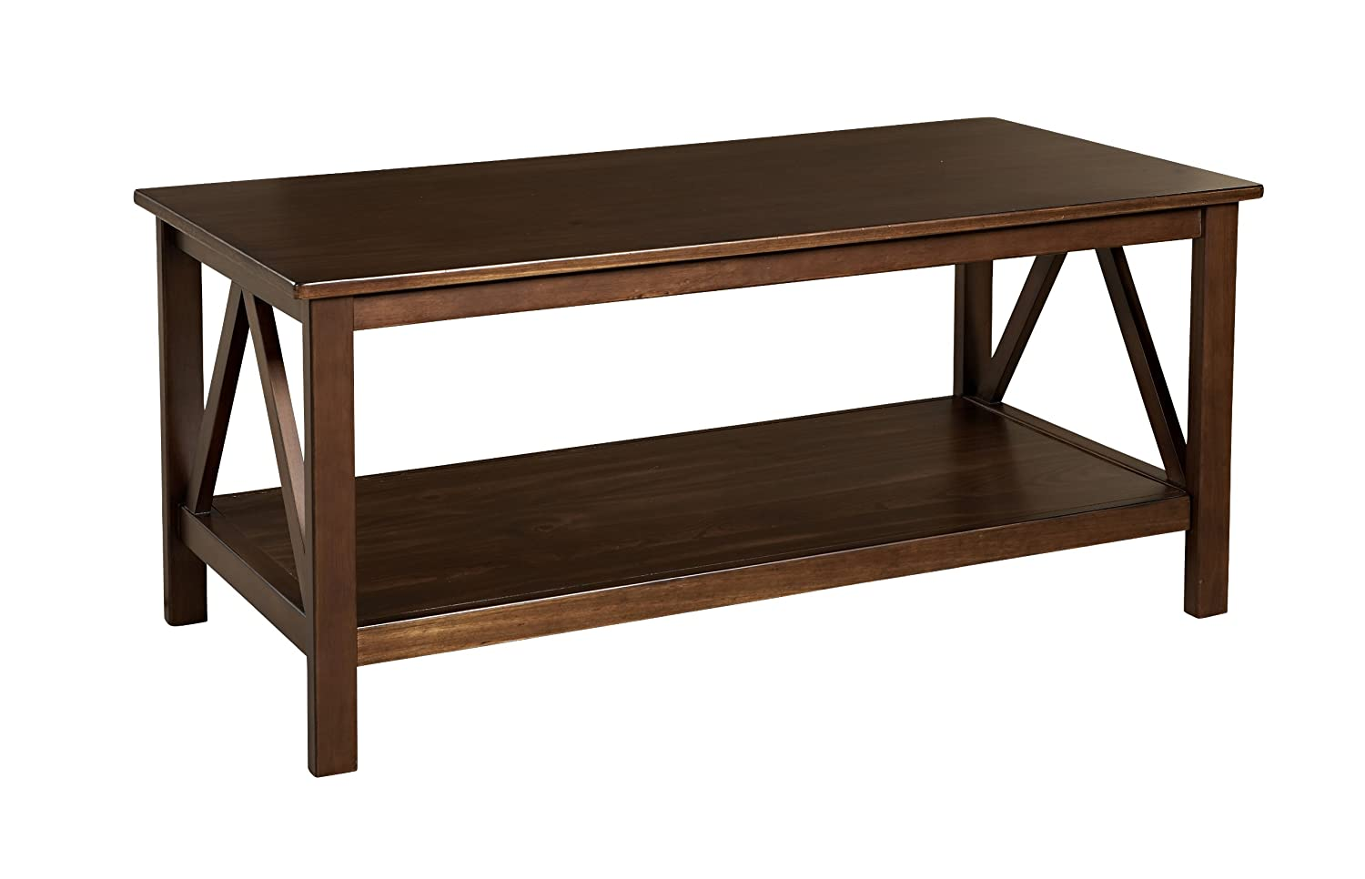 amazoncom linon home decor titian coffee table kitchen dining - Antique Wood Coffee Tables