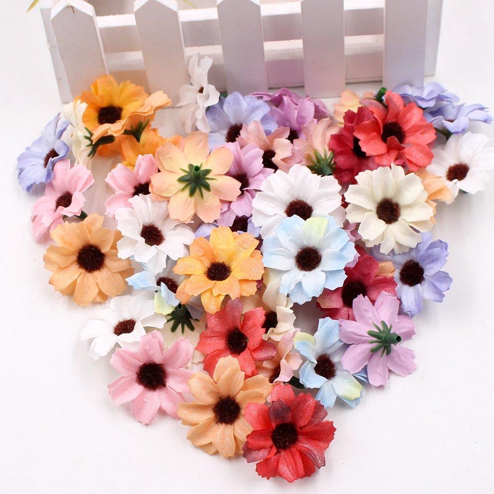 Flower Head In Bulk Wholesale For Crafts Small Silk Daisy Sunflower
