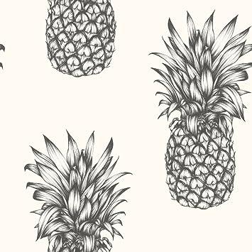 Arthouse Papier Peint Tropical Copacabana Motif Ananas Noir Et