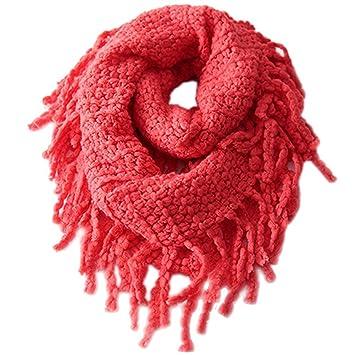 Unisex Girls Boys Knit Scarf Kids Winter Neck Warmer Soft Neckerchief Round Scarves