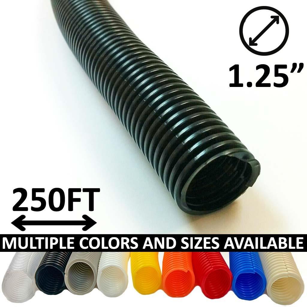 Electriduct 1.25'' Split Wire Loom Tubing - Color: Black - 250 Feet