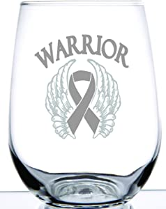 Breast Cancer Stemless Wine Glass| Laser Etch Embedded Design | Warrior for the Cure | Angel Wings and Cancer Ribbon | 15 Ounce