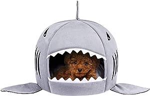 TORDES Dog Bed Shark Covered Cave