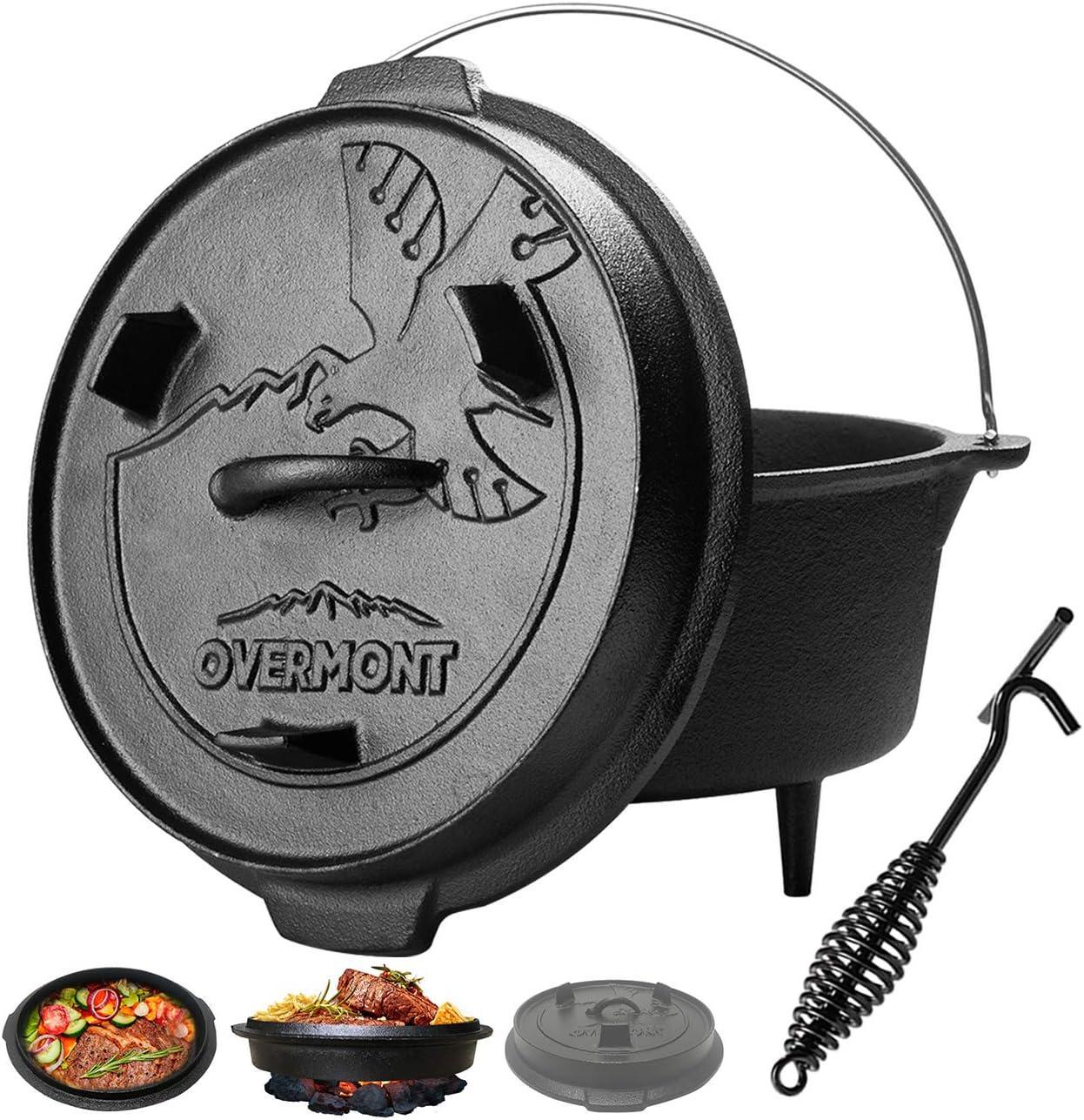 Overmont 5.7L / 6Quart Dutch Oven Olla Horno Holandesa de Hierro Fundido Cazuela con Elevador y Soporte para la Tapa y Las piernas
