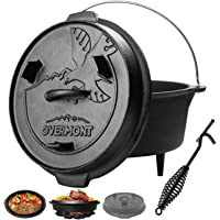 Overmont Camp Dutch Oven All-round Cast Iron Casserole Pot Dual Function Lid Skillet Pre Seasoned with Lid Lifter Handle…