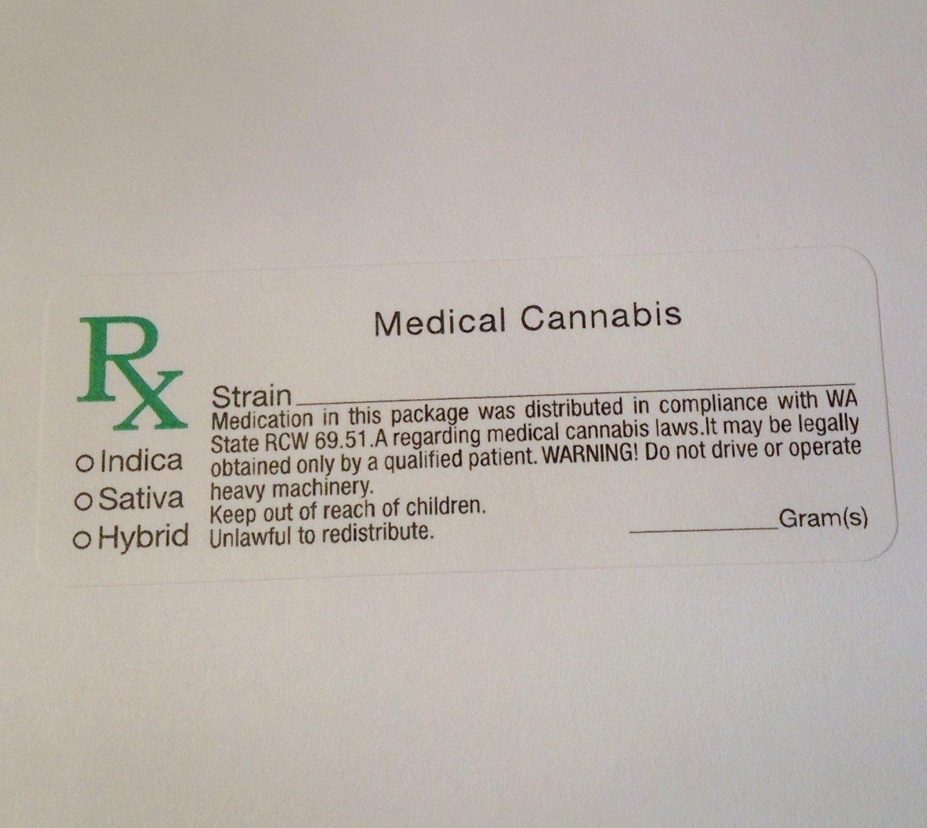 Washington WA Compliant Marijuana Labels 500 pcs - RX Cannabis Sticker Identifier 420 MMJ LABEL CO