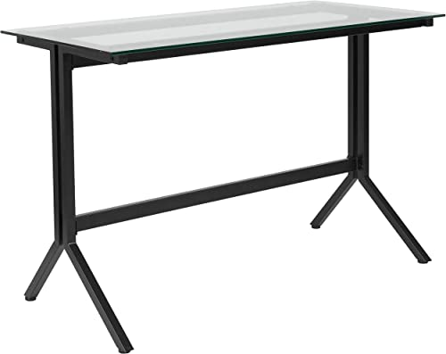 Flash Furniture Highland Collection Glass Computer Desk with Black Metal Frame